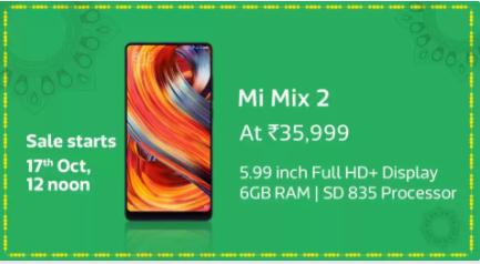 Flipkart Big Diwali Sale: Mi Mix 2